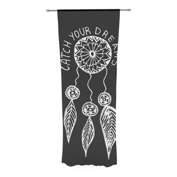 "Vasare Nar ""Catch Your Dreams Black"" White Typography Decorative Sheer Curtain"