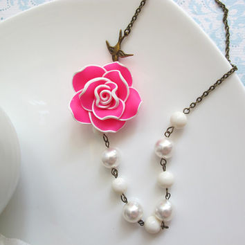Nature Inspired Bright Statement Necklace. Bright Pink Clay Rose Swarovski Pearls, flying swallow bird. Antiqued Brass Chain Flower Necklace