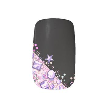 purple glitters with black background minx® nail wraps