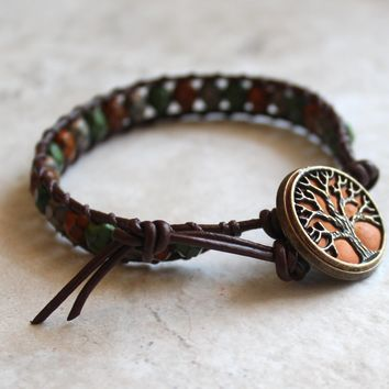 Earth tones tree of life bracelet with snake beads