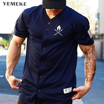 YEMEKE Gyms T shirt Crossfit Brand Clothing Fitness T-shirt compression Short Sleeve Tshirt Bodybuilding Workout Tee-shirt