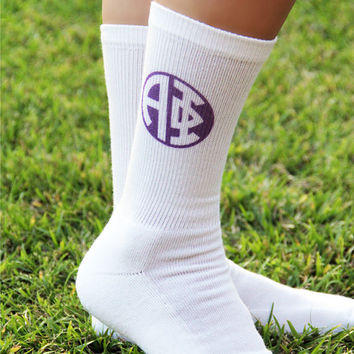 Greek Letter Circle Monogram on Crew Socks - Sold by the Pair, Alpha Phi design shown