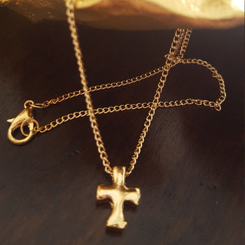 Dainty necklace Gold plated small Cross charm necklace Fine gift jewelry