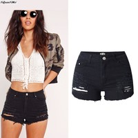 YiQuanYiMei Ripped Short Pants ripped jeans Shorts for women Hole high waist jeans Shorts woman  Distressed Short  jean pantalon