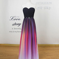 Colorful Bridesmaid Dress Long prom dress Long praty dress Strapless Colorful Evening dress Long homecoming dress