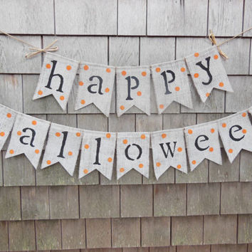 Halloween Decor, Happy Halloween Banner, Burlap Banner, Halloween Garland, Burlap Garland Bunting, Happy Halloween Bunting, Fall Decor