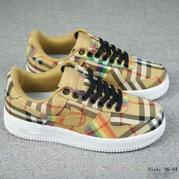 NIKE AIR FORCE 1 x BURBERRY Joint Series Classic Sneakers Rainbow Plaid Sneakers F-A-FJGJXMY