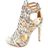 Python Print Laser Cut-Out Stiletto Heels by Charlotte Russe - Snake
