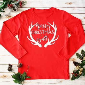 """Merry Christmas Y'all"" Red Long Sleeves Top"