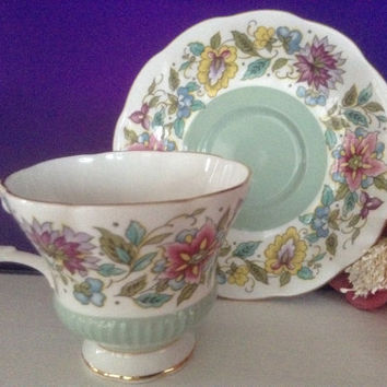 Royal Albert Teacup English Bone China Cup and Saucer Jacobean Green Tea Party Collectible Floral Bridal Wedding Mother's Day Gift England