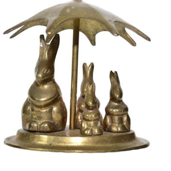Brass Rabbits Brass Bunny Brass Bunnies Rabbit Figurine Rabbit Statues Easter Bunny Rabbit under Umbrella