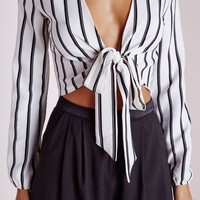 Missguided - Stripe Tie Front Crop Top White