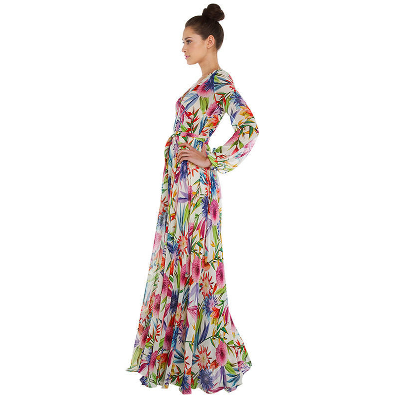 Topical Print V Neck Cuff Sleeve High From Kody Dresses