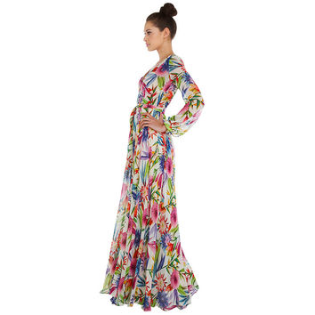 Topical Print V-Neck Cuff Sleeve High Waist A-Line Pleated Maxi Dress