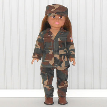 Camouflage Soldier Uniform Halloween Costume for 18 inch dolls Military Fatigues American Doll Clothes