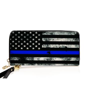PU Leather Zip Around Wallet For Card, phone and Money Thin Blue Line