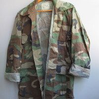 Men's Vintage Camo Jacket Shirt Camouflage Green Military Bdu Small