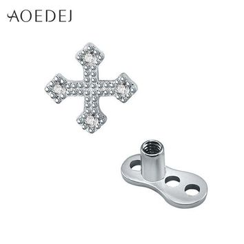 ac ICIKO2Q AOEDEJ Cross Dermal Anchor Stainless Steel Skin Diver Dermal Piercing Crystal Rhinestone Body Jewelry Fashion Jewellery
