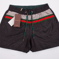 Mens Swim Shorts, Black Gucci Swim Trunks