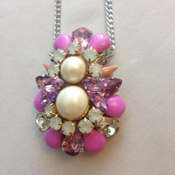 Fuchsia Pink and Pearl Statement Bridesmaids Pendant Necklace on Silver Chain
