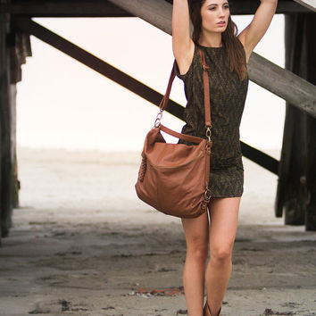 Xmas Sale Hobo Bag in Distressed Natural Tan Leather.Multiple handles Bag.Perfect Bag for Women.Elegant.100% Leather