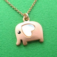 Small Elephant Animal Necklace in Light Copper with Heart ALLERGY FREE by Dotoly