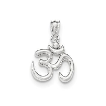 14k White Gold Polished Om Symbol Pendant