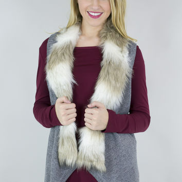 Manhattan Knitted Faux Fur Open Vest