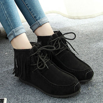 womens winter tassel boots