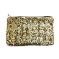 DaisyGem | Gold Sequin Zipper Clutch Wallet Purse Handbag Bag