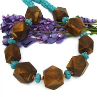 Chunky Wood and Turquoise Magnesite Boho Necklace, Copper Gemstone Handmade Statement Jewelry