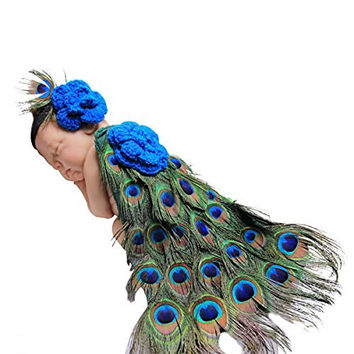 Jastore® Photography Prop Baby Cute Peacock Crochet Knitted Costume Headband Cloak