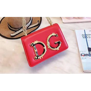 D&G fashion hot seller casual ladies solid color large letter shopping bag shoulder bag Red