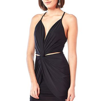 Satin Cami Knotted Cutout Mini Dress