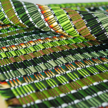 Green Mid-Century Modern Woven Placemats - Set of 6 Jewel Tones