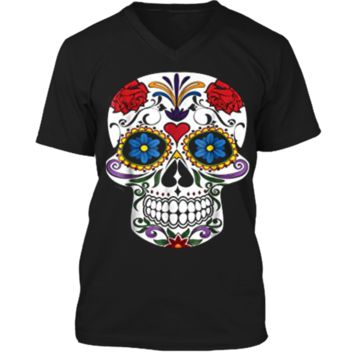 Fashion Sugar Skull Flower Death Day Of The Dead  Mens Printed V-Neck T