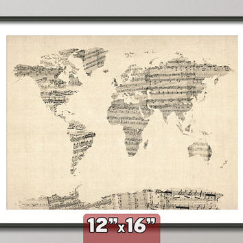 "Map of the World Map from Old Sheet Music 12x16"" art print"