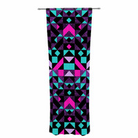 "Vasare Nar ""Geometric Galaxy"" Magenta Digital Decorative Sheer Curtain"