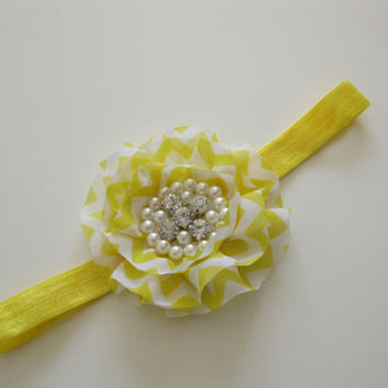 Girls yellow and white flower headband - yellow and white flower with rhinestone and pearls centre, yellow headband, toddler, baby headband,