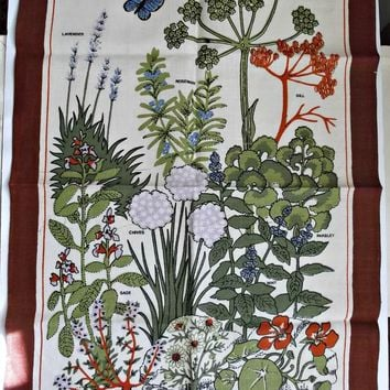 Irish Linen Towel Herb Garden Butterfly Hand Towel
