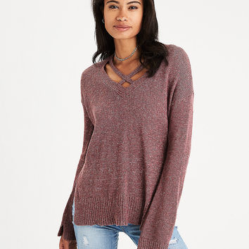 AEO Strappy V-Neck Sweater, Mauve