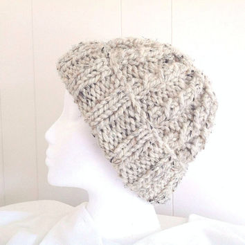 Knitted wool blend hat - Super chunky beanie - Womens beanie - Bulky knit hat