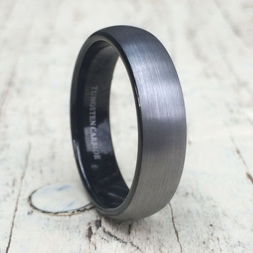 6mm Tungsten Rings for Men Wedding Engagement Band Brushed Black
