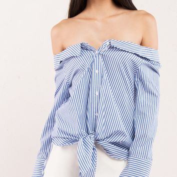 Blue and White Stripe Off Shoulder Blouse