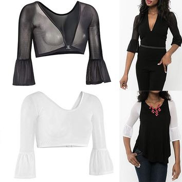 Womens Blouse V-neck Long Bell Sleeve Mesh Tops Both Side Wear Sheer Plus Size Seamless Arm Shaper Shirt top female clothes  F80