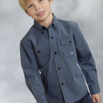 Roper Boys 8753 Big Sky Windowpane Amarillo Forest Lake Long Sleeve Shirt Button Closure - 2 Pocket