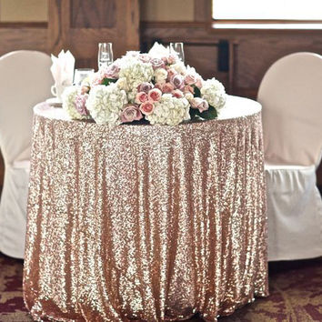 "Champagne Sequin Tablecloth 90"" round for vintage Weddings and Events! Custom sparkle sequin table cloths, tablecloths, runners and linens"