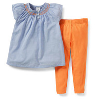 2-Piece Woven Top & Legging Set