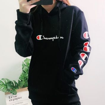 Champion 2019 new embroidered letters stringed arm letters women's hoodie black