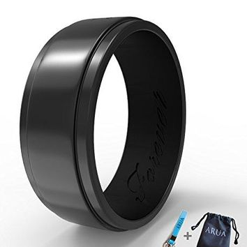 Elegant Glossy Silicone Wedding Ring (Band) for Men. Thin, Comfortable, Durable. 8mm Wide. Gift Bag and Silicone Keychain Included.